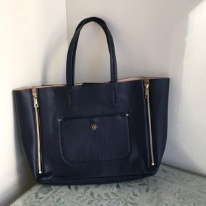 Ann Taylor Signature Bag Pebbled Leather Navy New